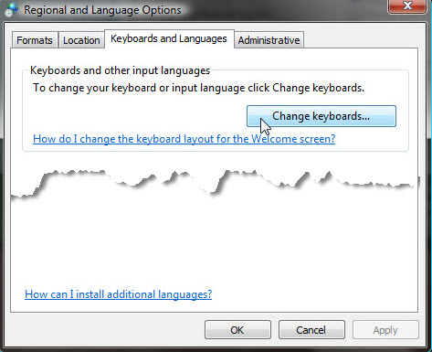 Select the Keyboards and Languages tab