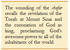 The sounding of the shofar recalls the revelation of the Torah at Mount Sinai...